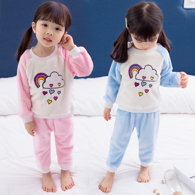 Baby Pajamas Coral Velvet Spring And Autumn Children Flannel Tracksuit 4 Autumn Clothing Girls Suit 2 Clothes For Babies 3-Year-