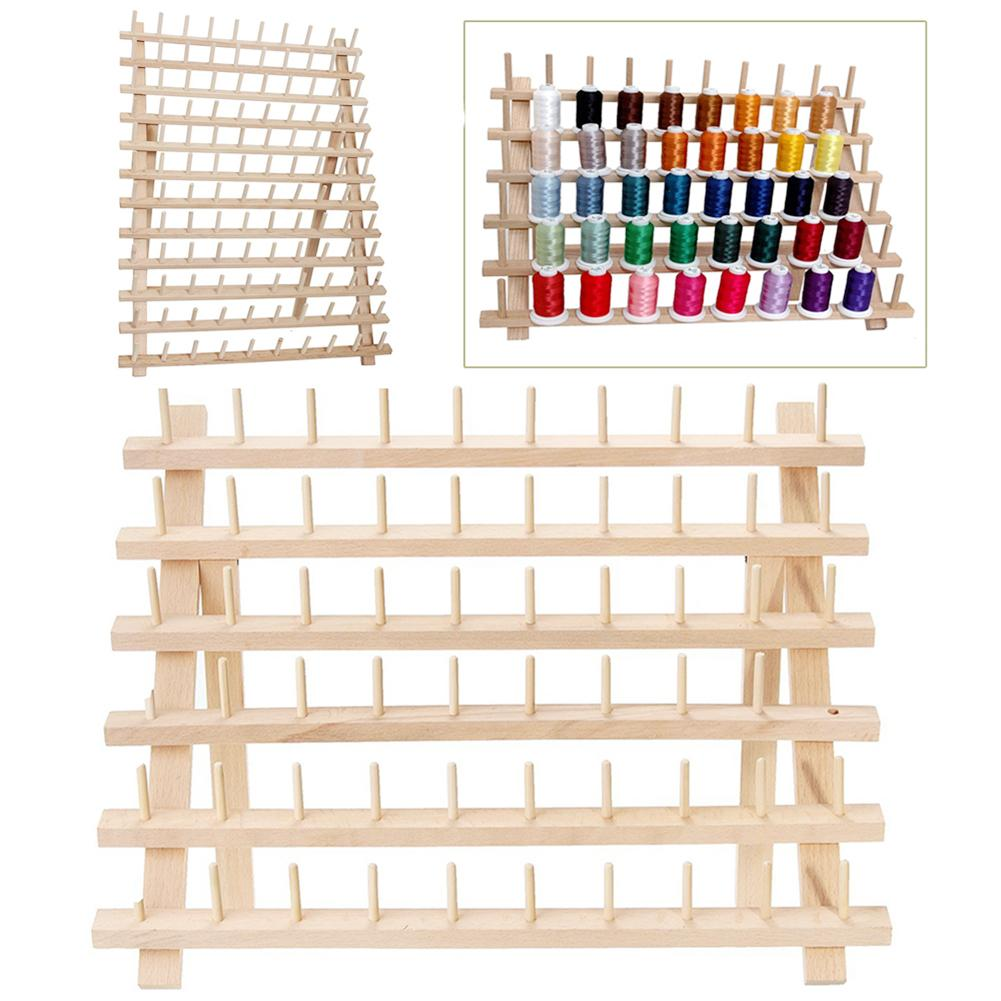 60-reel Folding Wooden Thread Stand Holder Sewing Embroidery Storage Organizer                                              Rack