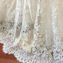 3 Yards French Made Fine Geometric Couture Alencon Embroidery Lace Fabric at 125cm wide, Wedding Gown