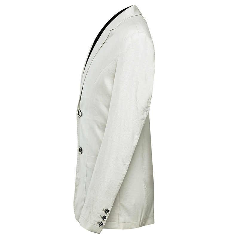 SHENRUN nueva llegada DE LINO DE VERANO Casual slim fit chaqueta de traje de hombre solo Breasted alta calidad Beige caqui hombres trajes blazers