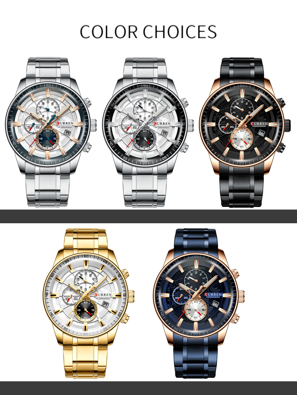 H1513fdb2118a46f39253c1c94dab47b8I Men's Watches CURREN Top Luxury Brand Fashion Quartz Men Watch Waterproof Chronograph Business Wristwatch Relogio Masculino