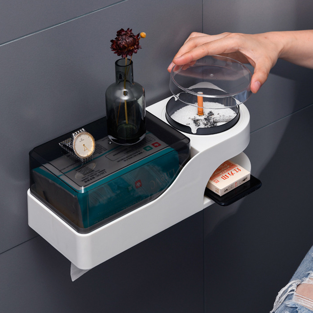 Multifunction Home Wall-mounted Toilet Paper Holder With Ashtray Waterproof Paper Towel Storage Shelf For Bathroom Accessories