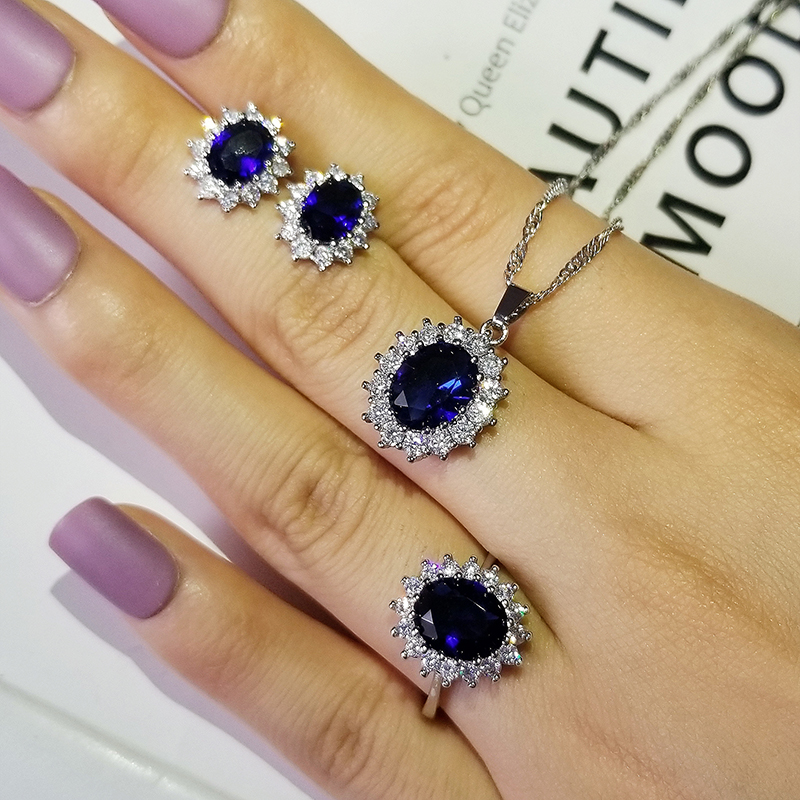 3pcs Pack 2021 New Luxury Blue Color Sunflower 925 Sterling Silver Dubai For Women Lady Anniversary