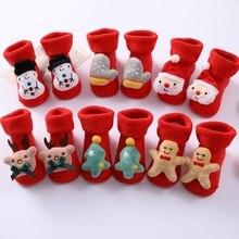 Малыш + младенец + носки + младенец + хлопок + Санта + Клаус + снеговик + милый + носки ++ милый + шорты + рождество + носки + одежда + аксессуары