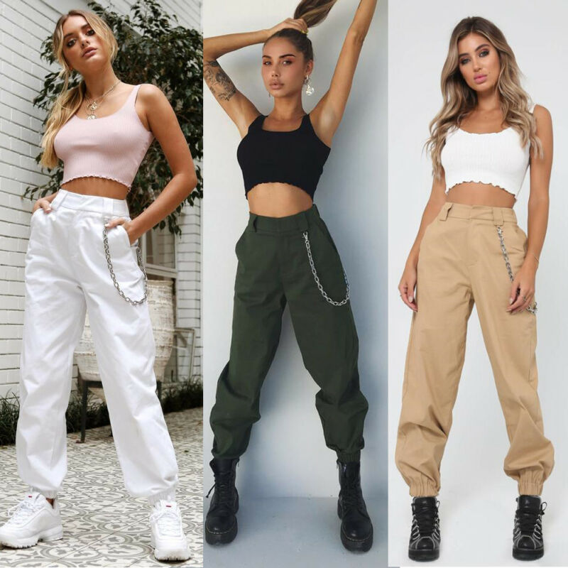 Fashion Brand New Autumn Womens Cargo Utility Work Hiking Army Military Multi Pockets Combat Casual Pants Without Chain