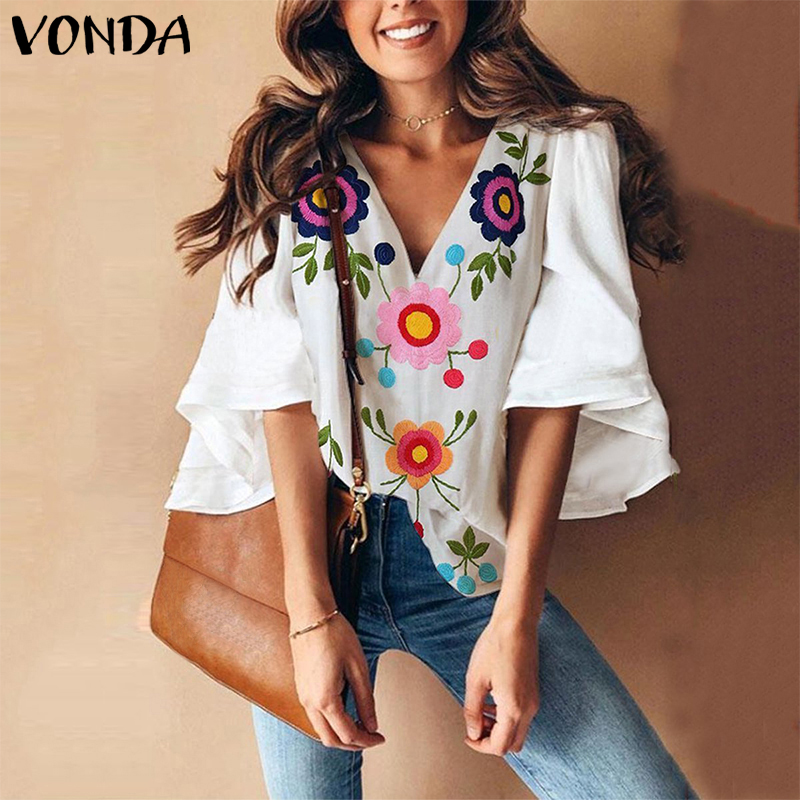 VONDA 2020 Summer Fashion Blouses Women Vintage Floral Print Shirts Casual V Neck Flare Sleeve Blusas Plus Size Sexy Tops(China)