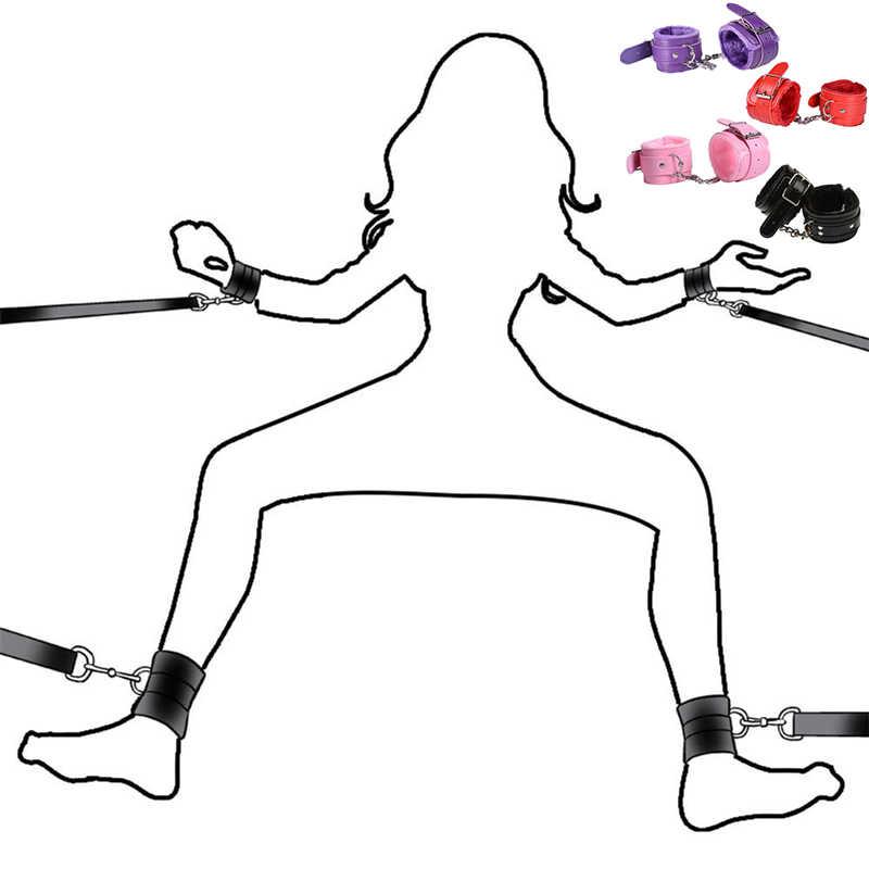 Egzotyczne Bdsm Bondage zabawki gra erotyczna PU futro kajdanki mankiety na kostkach Sexy zabawa Butt Plug Sexo korek analny Lingeri porno sex zabawki dla kobiet