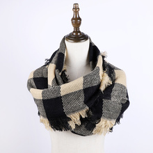 2019 Plaid Infinity Scarf Autumn Women Fashion Scarf knitted Winter Scarf Tassel Shawl Scarf For Women Cashmere Bufandas Hombre pure color knitted infinity scarf