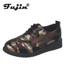 Fujin Single Shoes Fashion Breathable Shallow Women Flat Bottom Autumn Spring Dropshipping Camouflage Round Toe