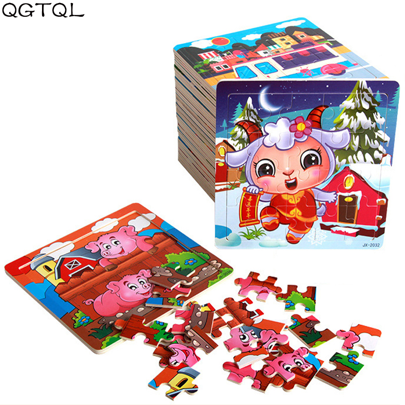 9/20 Slice Kids 3D Puzzle Toy Cartoon Animals And Vehicle Wooden Puzzles Jigsaw Baby Educational Learning Toys For Children Gift