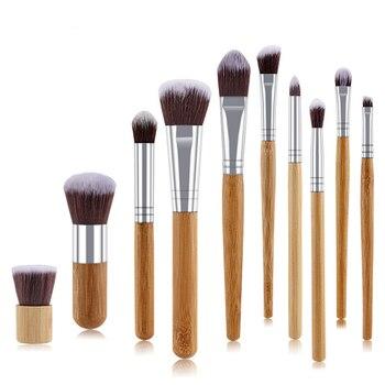 10pcs Makeup Brushes Set Professional Bamboo Kabuki Foundation Blending Blush Concealer Eye Face Powder Cosmetics Brush Kit 1