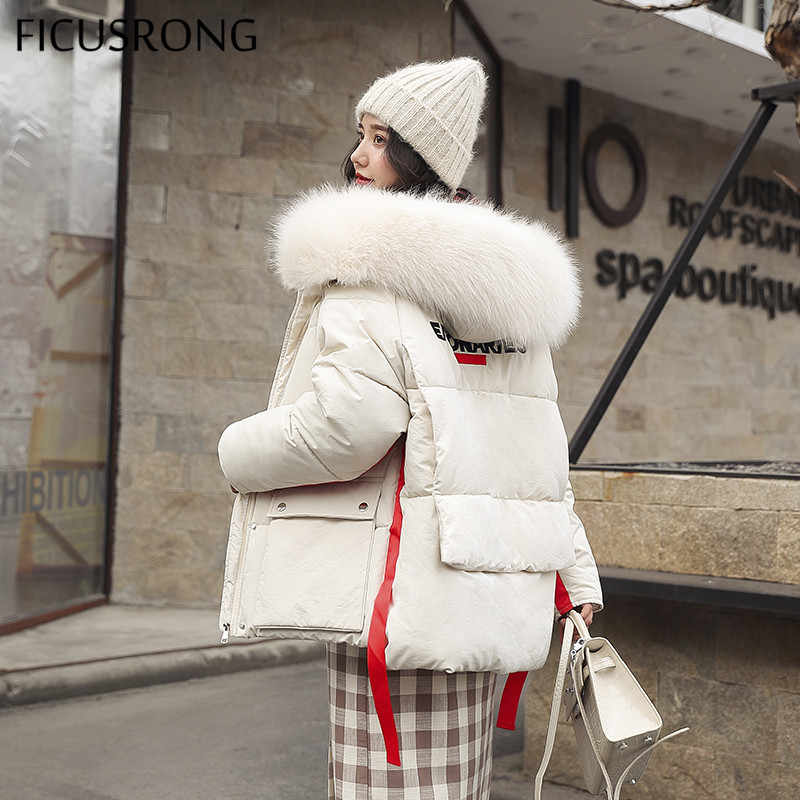FICUSRONG Fashion Letter Design Warm Womens Winter Jackets Big Pocket Button Hooded Down Parka Fur Collar Ladies Coats