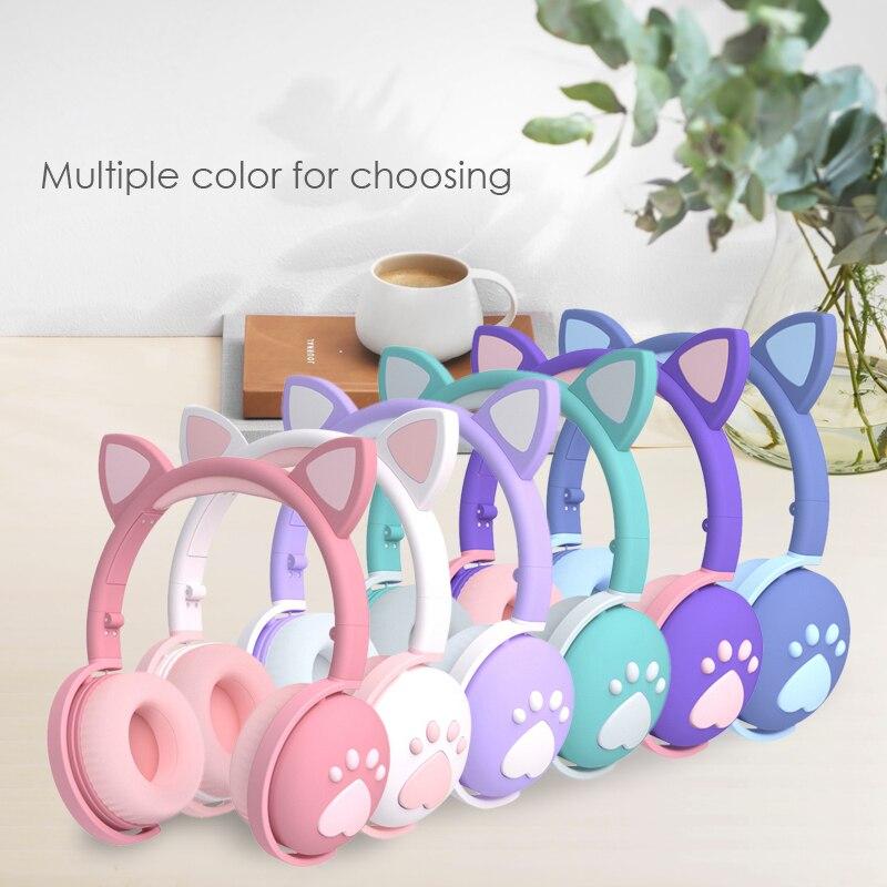 Cute cat Ear Paw Headset Glowing Kids Wireless Bluetooth 5.0 Headphones daughters Girls Gift Earphones with Mic Children Gifts