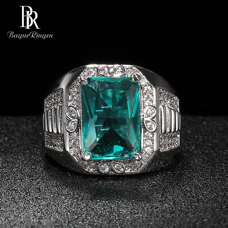 Bague Ringen Luxury Fine Jewelry Silver 925 Ring For Women Rectangle Gemstones Geometry Emerald Female Anniversary Gift Wholesal