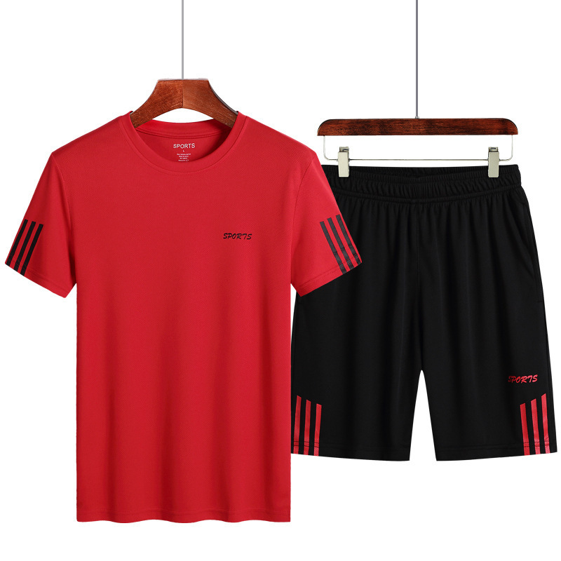 Summer Sports Set Men's Large Size Quick-drying T-shirt Casual MEN'S Short Sleeve Outdoor Fitness Suit Cultural Shirt Team Custo