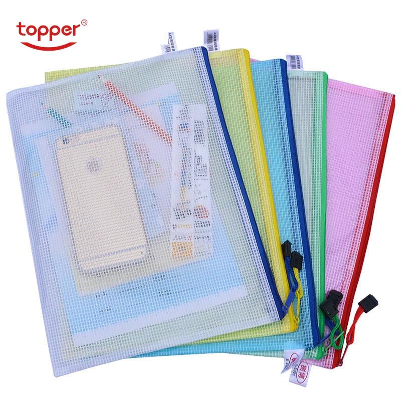 1 Pcs Waterproof Plastic Zipper Paper File Folder Book Pencil Pen Case Bag File Document Bag For Office Student Supplies Filebag