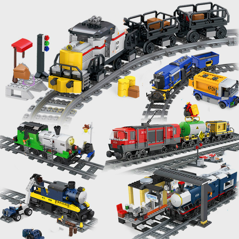 Compatible Legoed City Train Wagon Carriage Station Car Model Building Kits Rails Sets Track Blocks Bricks Children Kids Toys
