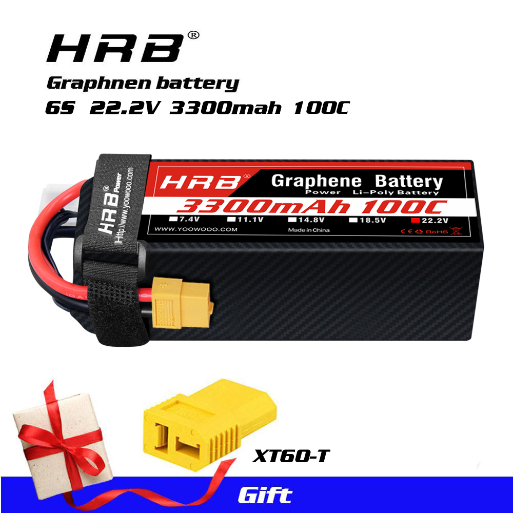 HRB 2Packs 6S 3300mAh 22.2V 60C LiPo Battery Pack with EC5 Plug for RC Car Boat Truck Heli Airplane