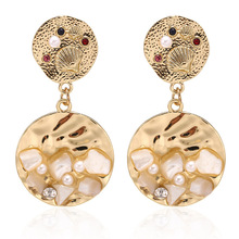Bohemian Drop Earrings Fashion Irregular Personality Pearl Sequins Sexy Western Women's Earrings For Banquet Party Jewelry alloy sequins drop earrings