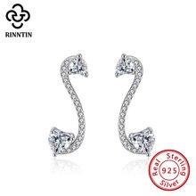 Rinntin 100% 925 пробы серебряные серьги гвоздики с лебедем