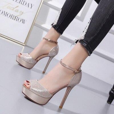 Bling Sandals Women Shoes 2020 Gladiator High Heels 12CM Platform Sandals Pumps Peep Toe Ladies Shoes Party Bridal Wedding Shoes