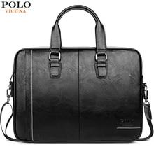 VICUNA POLO 고품질 가죽 남자 메신저 가방 브랜드 망 서류 가방 비즈니스 15.6 인치 노트북 가방 남자 핸드백 어깨 가방