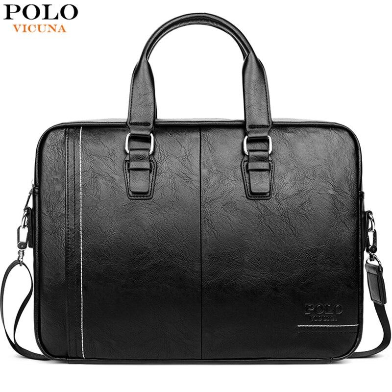 VICUNA POLO High Quality Leather Man Messenger Bag Brand Mens Briefcases Business 15.6inch Laptop Bag  Men Handbag Shoulder Bags