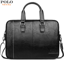 VICUNA POLO High Quality Leather Man Messenger Bag Brand Mens Briefcases Business 15.6inch Laptop Bag  Men Handbag Shoulder Bags