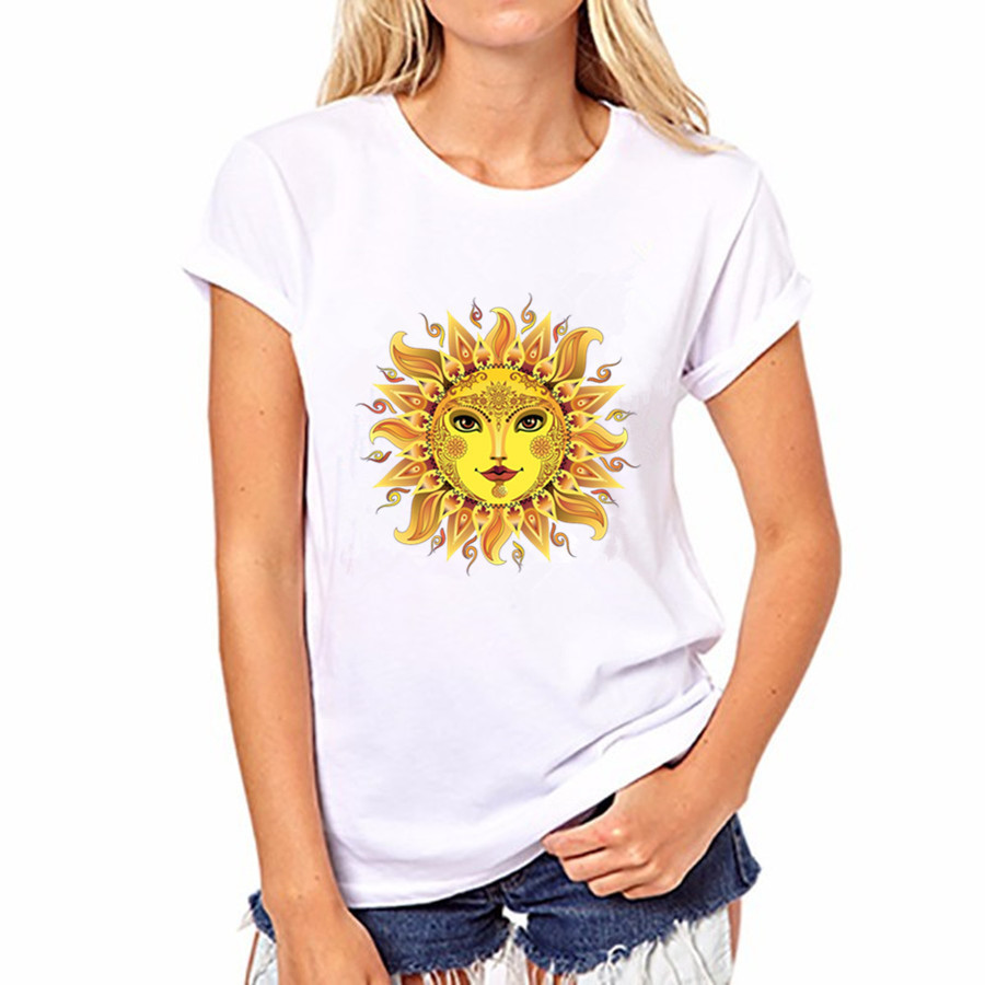 Camisetas Mujer Gold Sun Flower Print T Shirt Women Short Sleeve O Neck Loose Tshirt 2019 Summer Tee Tops