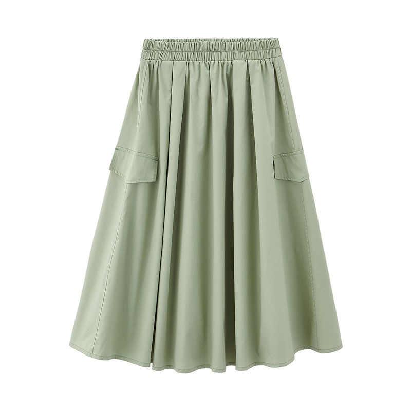 をインマン 2020 夏新 arriavl 文学通勤純粋な綿すべてマッチフロックスタイルスカート