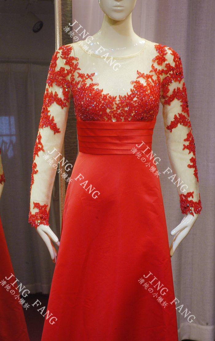 free shipping new fashion beaded appliques Formal party gown vestido de festa robe de soiree <font><b>2014</b></font> <font><b>sexy</b></font> long sleeve evening dress image