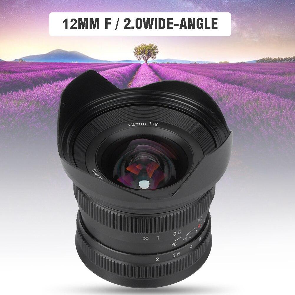 Image 4 - 12mm f2.0 Mirrorless Camera Lens Manual Focus Super Wide angle Fixed Focus Lens for Canon EF M/Sony E/Fujifilm FX/M4/3 MountCamera Lens   -