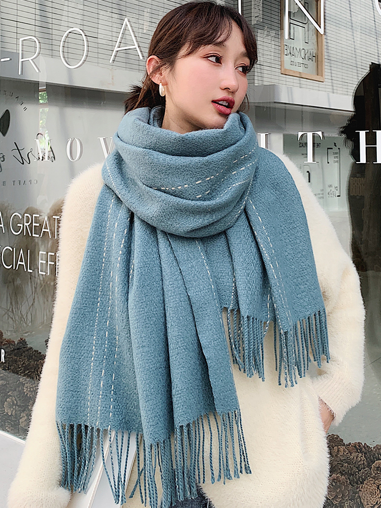 Bran Women Scarf Winter Versatile Leisure Shawl Girl Student Version Net Red Thickened Warm Dual-purpose Bib Autumn Winter Scarf