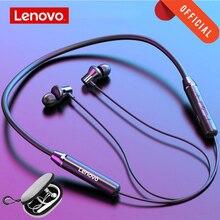Lenovo kablosuz Bluetooth kulaklık BT5.0 spor koşu kulaklık IPX5 su geçirmez spor kulaklık manyetik kulaklık Mic siyah ile