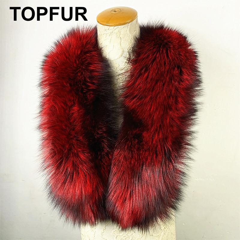 TOPFUR 2019 New Fashion Winter Female Shawl Wine red Long Scarf Women Real Fur Scarf Natural Fox Fur Solid Luxury Scarfs Women