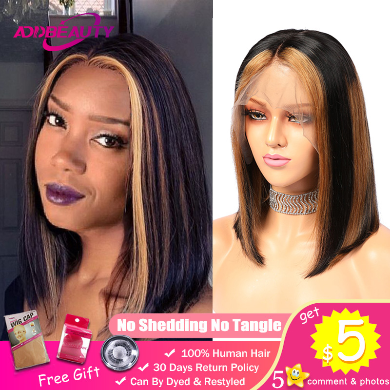 AddBeauty Ombre 13x6 Lace Front Human Hair Wigs For Black Women Straight Blonde Highlights 1B 4 27 Color 150% Remy Short Bob Wig