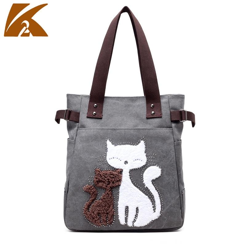 New Style Canvas Bag WOMEN'S Bag Korean-style Fashion Simple Shoulder Bag Leisure Bag Cute Cat Versitile Fashion Hand Large Bag