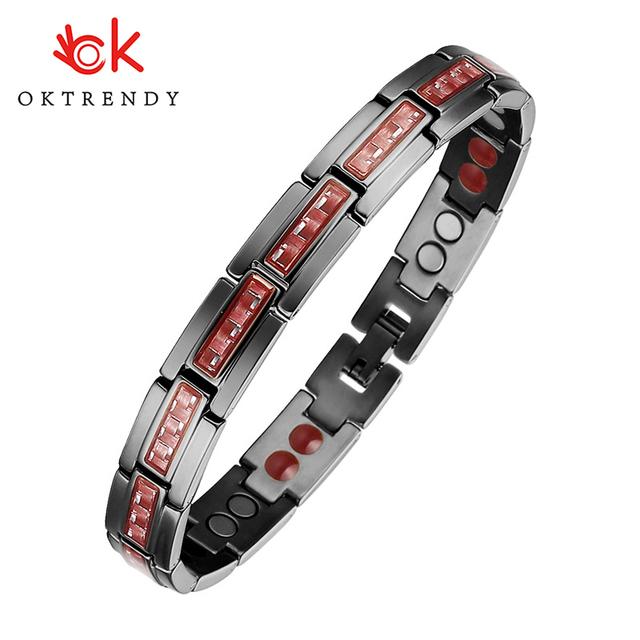Oktrendy Germanium Magnetic Bracelet Black Carbon Fiber Bracelet Femme 4 in 1 Stainless Steel Bracelets Bangles Men New 2020