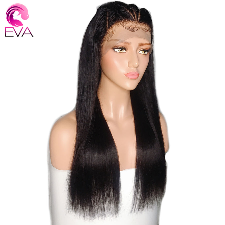 Eva 13x6 Lace Front Human Hair Wigs Pre Plucked With Baby Hair Bleached Knots Brazilian Remy Straight Hair Wigs For Black Women