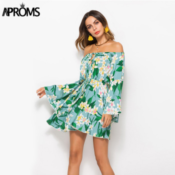Aproms Summer Flare Sleeve Sunflower Print Dress Women Long Sleeve Off Shoulder Loose Dress 2020 Female Beach Streetwear Dresses 1