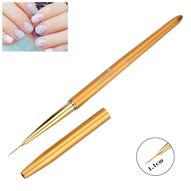 Monja 7 Styles Nail Art French Metal Handle Stripe Lines Liner Image Painting Brush Acrylic UV GEL Extension Builder Drawing Pen 4