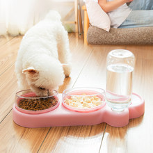 ZK30 NEW Pet Dogs Cats Double Bowls Food Water Feeder Container Dispenser For Dogs Cats Drinking High Quality Pet Products