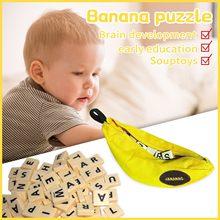 Giocattoli di educazione precoce del bambino per i bambini 144pcs banane gioco di accoppiamento scarabeo inglese Puzzle Montessori in legno scarabeo Игрушки