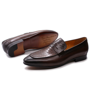 Image 2 - FELIX CHU Luxury Mens Loafer Shoes Genuine Leather Snake Print Wedding Party Casual Men Dress Shoes Slip On Footwear Comfortable