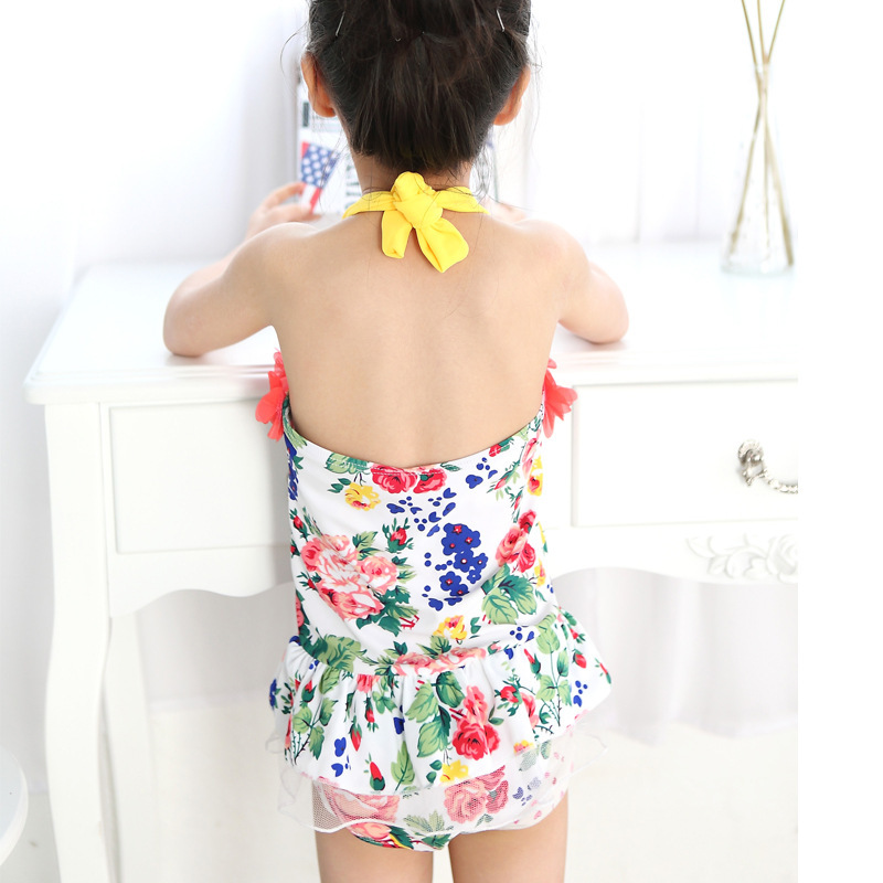 Korean-style Fashion Bubble Hot Spring One-piece Swimsuit For Children Girls CHILDREN'S Baby Princess Bathing Suit Swimming Trun
