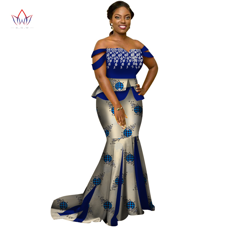 Africa Style Two Piece Skirt Set Dashiki Elegant Africa Clothing Sexy Crop Top and Skirt Women Sets for Wedding WY3226