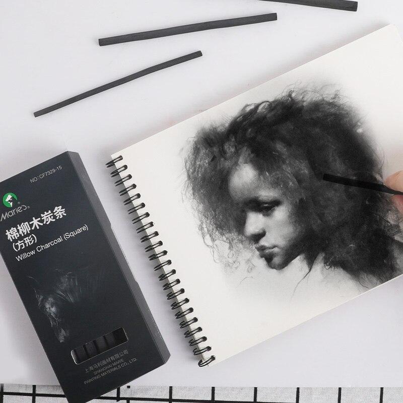 Marie's угольный карандаш Dibujo Профессиональный 15 шт. B эскиз Угольные карандаши Carboncillos Para Dibujo Lapices Dibujo профессиональный