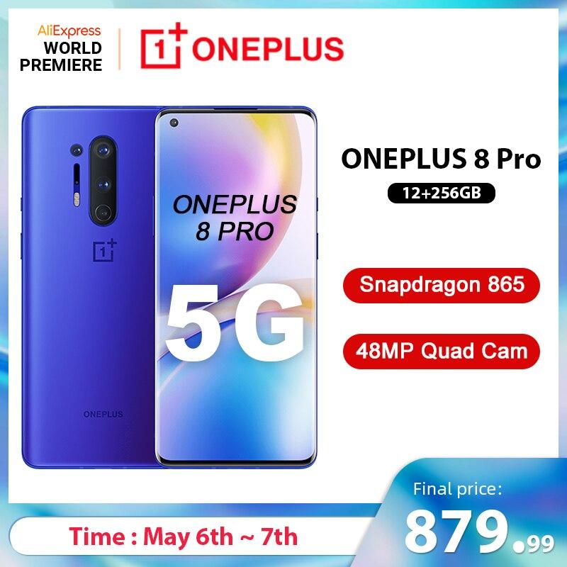 Globalny Rom Oneplus 8 Pro 5G Smartphone Snapdragon 865 12GB 256GB 6.87 ''120Hz płynny ekran 48MP Quad Cams 30W bezprzewodowe ładowanie