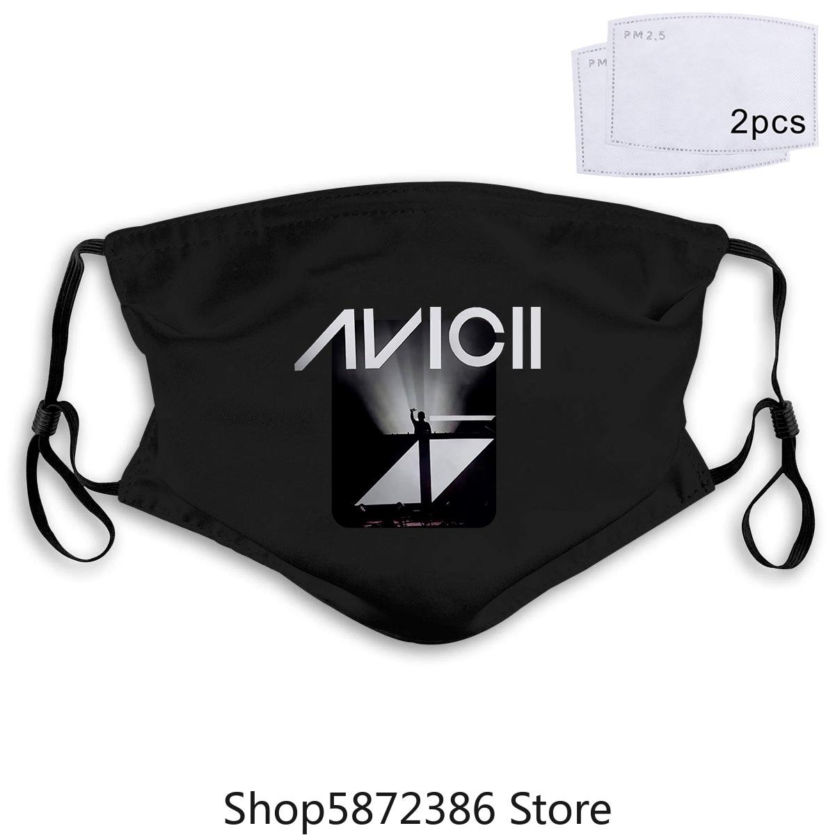 Máscara negra para hombre, nuevo y Popular DJ Avicii, XS3XL 20 piezas PM2.5 de algodón unisex, mascarilla facial Anti-humo transpirable y lavable con mufla bucal para ciclismo
