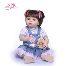 NPK 57cm full body Silicone reborn Baby Doll Girl Newbron Lifelike Princess Doll Birthday Girl Gift Bonecas Bebes Reborn Menina npk cute doll free shipping 16inches american girl doll journey girl dollie